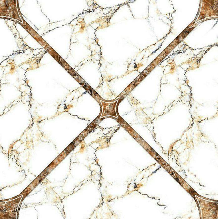 سرامیک کف سالن سفید طلایی